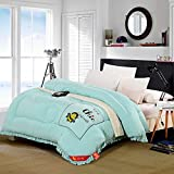 Polyester bed/bedding Warmth Full/Queen/Full/Twin Size Comforter Duvet Insert,Hypoallergenic Box Stitched,Spring And Autumn Quilt,Bee Blue,150×200cm(2Kg)