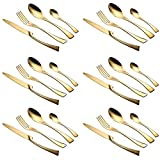 Lemeya 24 Pieces Flatware Cutlery Set,18/10 Stainless Steel Silverware Utensils Service for 6,Include Knife/Fork/Spoon, Mirror Polished,Dishwasher Safe (Gold)