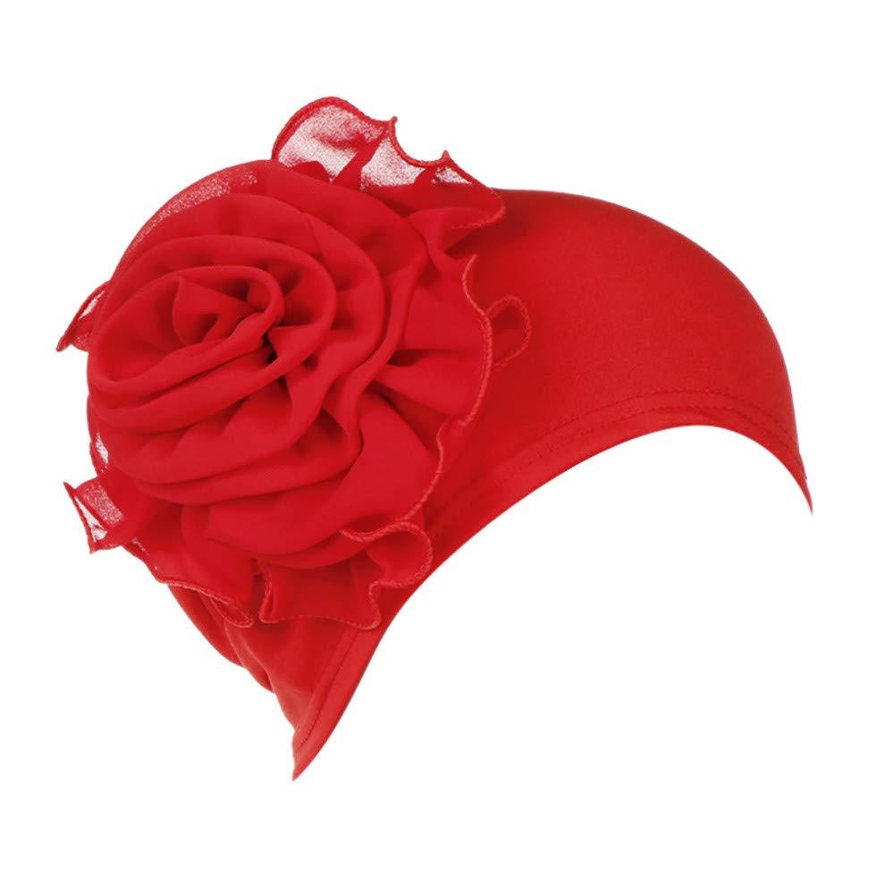 callm Women India Hat Fashion Muslim Ruffle Cancer Chemo Beanie Turban Wrap Cap Red