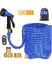 ANSYU Expandable Garden Hose Pipe 3 times expanding 100FT Lightweight With 8 Function Spray Gun Flexible magic water Hose Brass Fittings Anti-leakage for Garden Home Outdoor Easy Storage(Blue)