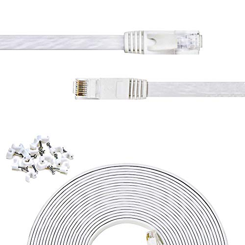 - Cat 6 Ethernet Cable 14 ft Flat White,Solid Cat6 High Speed Computer Wire with Clips & Rj45 Connectors for Router, Modem, Faster Than Cat5e/Cat5, (14ft, 1 Pack, White)