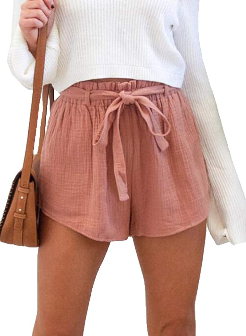 KLJR Women Wide Leg Elastic Waist Belted Loose Fit Casual Pure Color Shorts