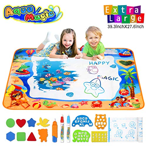 Hommate Water Doodle Mats Drawing Mat Multicolor Large Size 39.3 x 27.6 Inch Sea World Educational Learning Birthday Toys Gifts for 2 3 4 Years Old Girls Boys Tolddlers Kids]()