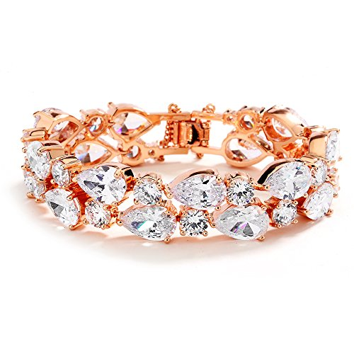 Mariell Rose Gold Petite Length 6 1/2 Wedding Bracelet Bold CZ Mosaic Brides Bridesmaids