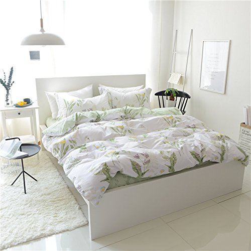 FADFAY Shabby Green Floral Duvet Cover Set Green Yellow Purple Blue Flowers Cotton Bedding Set 3 Pcs(1duvet Cover & 2pillowcases)California King Size by FADFAY (Image #3)