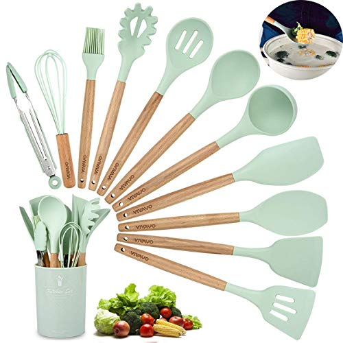 Silicone Cooking Utensils Kitchen Utensil Set, VIVAYO 12 PCS Acacia Wooden Handles Silicone Kitchen Utensil Set Turner Tongs Spatula Spoon Kitchen Tools Gadgets for Nonstick Cookware (Mint Green) ()