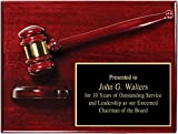 Gavel Plaque, 9'' x 12'' Rosewood Piano Wood Gavel Plaque with Custom Engraving, Best Prices Lawyer Gift, Judge Gift, Mayor Gift, City Council Gift