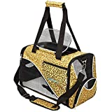 Katziela Pet Carrier - Soft Sided, Airline Approved Carrying Bag for Small Dogs and Cats, Front, Side and Top Mesh Ventilation Windows, Storage Pocket and Safety Leash Hook - Leopard Print