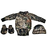 Infant / Baby Camo L/S Diaper Shirt with Hat & Booties Mossy Oak Breakup Country Camo (3-6 Months)