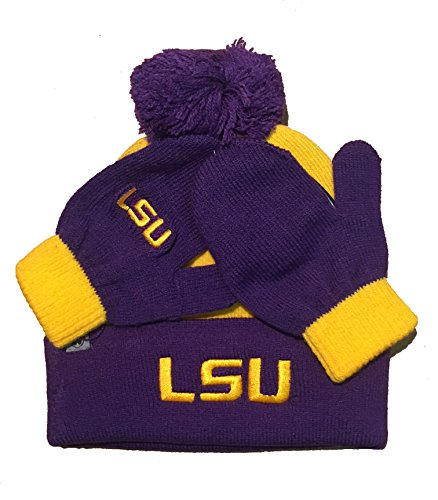 Cuffed Mittens - Top of the World LSU Tigers Lil Dew Toddler Beanie Hat and Mitten Combo - NCAA Infant Cuffed Winter Cap/Gloves Gift Set