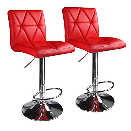 Leader Accessories Modern Swivel Red Bar Stool Diagonal Line, Hydraulic Adjustable Bar Stools,Set of 2