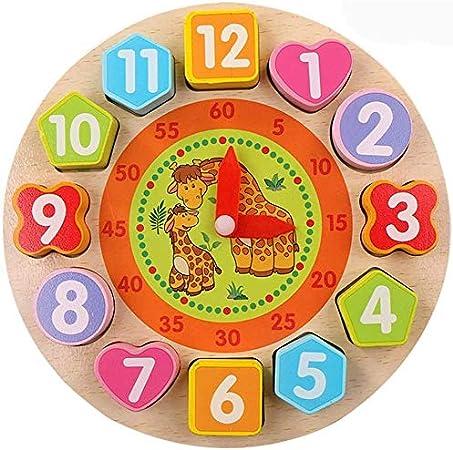 Afufu Juguete de Reloj de Madera Educativo, Juguetes Montessori Juegos Educativos de Clasificación con Numeros y Formas Geometricas, Relojes de Aprendizaje para Todos los Niños y Niñas 3 4 5 Años