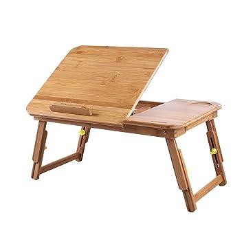 Escritorio de bambú para laptop Bandeja de cama de servicio Mesa de desayuno ordenador portátil plegable Soporte de mesa para cama y sofá: Amazon.es: Hogar