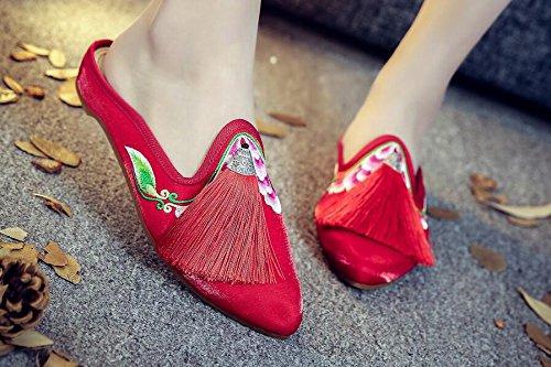 two Rouges Khskx De Vent Un Des Nouvelles Pantoufles vieux Folklorique Beijing Houppes Cloth Style Forty Chaussures Chinois Pareilles qxTqCf