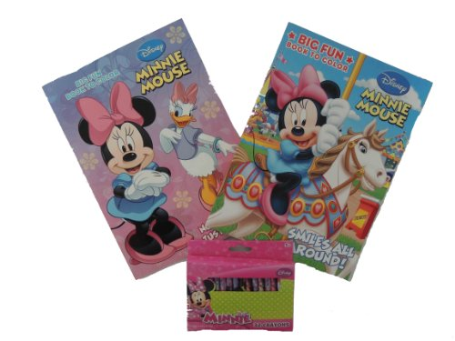 Disney Minnie Mouse 2pcs Coloring Books with 32pack of Crayons by Disney