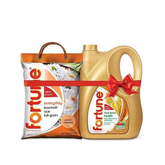 Fortune Rice Bran Oil 5L Jar + Fortune Everyday Basmati Rice, 5 Kg