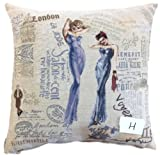 Tache 2 Piece Square Vintage European French Girls Just Want to Have Fun Woven Cushion Throw Pillow Cover Set