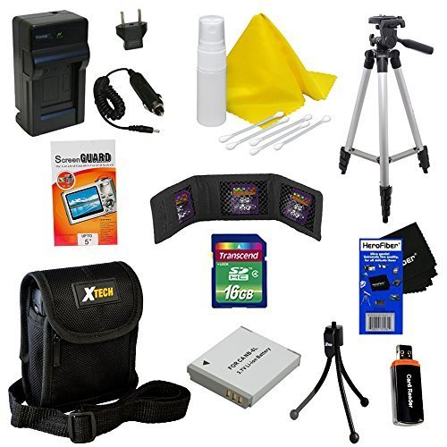 Ideal Accessory Kit for Canon Powershot SX170 IS – Includes: 16 GB memory card, High Capacity NB-6L Rechargeable Replacement Battery, AC/DC (home/car) Rapid Battery chatger, 50″ Light Weight Aluminum Photo/Video Tripod, Protective Digital Camera Carrying Case, Universal Card Reader, Mini Tabletop Tripod, Memory Card Wallet, Lens Cleaning Fluid, Cleaning Cloth, Universal Screen Protectors with Squeegee Card, 5 Cotton Swabs, HeroFiber Ultra Gentle Cleaning Cloth