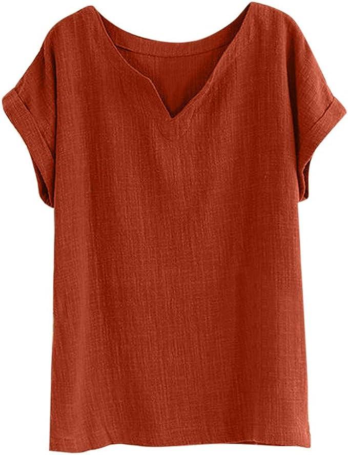 Amazon.com: Camiseta de manga corta para mujer de verano de ...