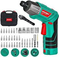 Electric Screwdriver, 6N·m Max Torque HYCHIKA Cordless Screwdriver 2000mAh 3.6V with 36 Accessories, LED Light and Rear...