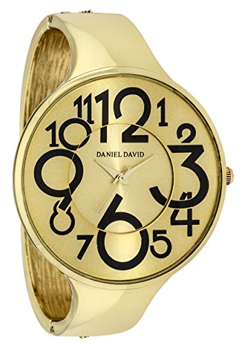 (Women's Watches by Daniel David - Vintage Gold Bangle Watch - Make Every Second Count -)