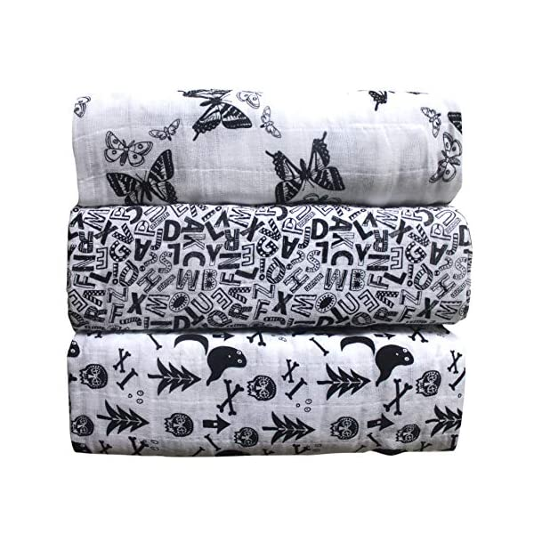 Muslin Swaddle Blankets,Unisex 100% Organic Cotton for Baby,Set of 3,Large 47×47 inches Soft Swaddling Receiving Sleep Blankets,Perfect Baby Shower Gift for Boys and Girls