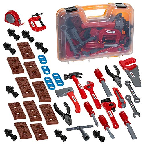 ABCZ 49 Piece Educational Kids Tool Set- Construction, Workshop, Mechanic and Power Tool Toy Kit for Kids Pretend Play with Realistic Tools and Easy-to-Carry Storage Tool Box ()