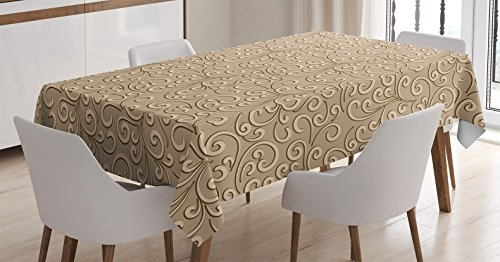 Beige Decor Tablecloth by Ambesonne, Floral Swirls Damask Pattern Classic Victorian Style in Retro Background Antique Design, Dining Room Kitchen Rectangular Table Cover, 60 X 90 Inches (Victorian Table Cover)