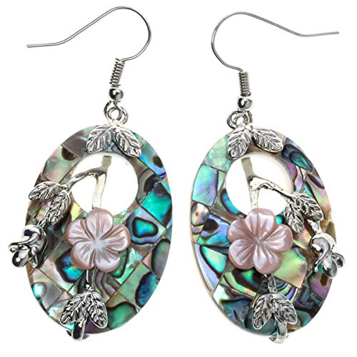 - YACQ Jewelry Women's Abalone Shell Flower Drops Dangle Earrings