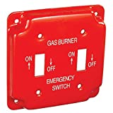 2 Pcs, 4 In. Square Emergency On/Off Two Toggle Switch Cover for Gas Powered Applications, Steel, Silk-Screened w/Fuel-Type & Power On/Off Indication