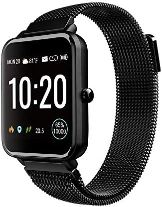 Tinwoo Smart Watch for Women Men, GPS Smartwatch, All-Day Activity Tracker Bluetooth Fitness Pedometer, for iOS, Android Phone, with Heart Rate Monitor 5ATM Waterproof (Metal Band Black)