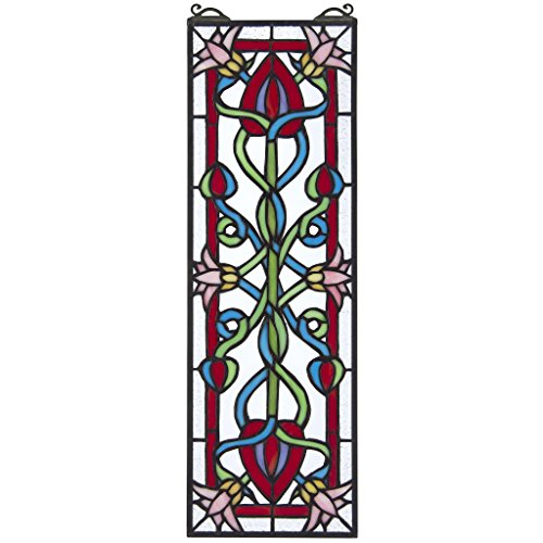 Design Toscano Stained Glass Panel - Pink Dahlia Stained Glass Window Hangings - Window (Fine Art Stained Glass)