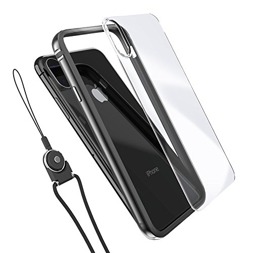 iPhone X case, iPhone 10 case, AOPETIO Aluminum TPU Shockproof Bumper Case for iPhone X, Clear PC Back Panel Included for Free-[Matte Black]