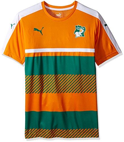 PUMA Men's Ivory Coast Training Jersey, Flame Orange/Pepper Green White, Large