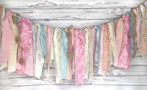 Shabby Chic Cotton Candy Garland Rag Tie Banner: ~ Photo Shoot ~ Vintage ~ Wedding Decor ~ Nursery ~ Bridal Shower ~ Gender Reveal Parties ~ Decorations ~ Photo Props ~ Banner ~ Wall Decor! … (Cotton Candy Princess)