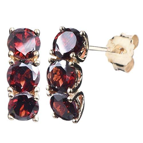 Cut Garnet Dangling Earrings - Yellow Gold Plated Sterling Silver 3 Stone Garnet Earrings (2.50 CT)