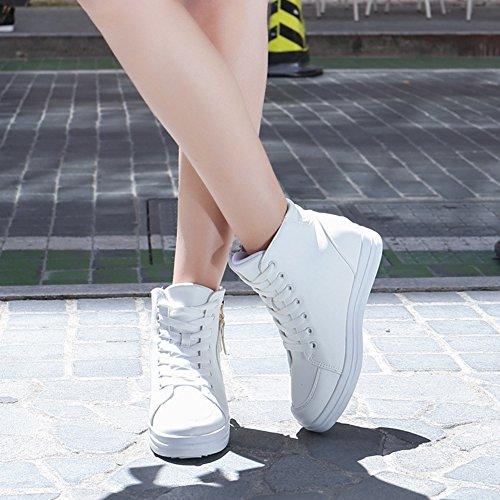 Baskets Montantes À Semelle Compensée U-mac Pour Femme - Semelle Antidérapante En Caoutchouc Talon Caché Bout Rond Plate-forme Chaussures Décontractées Blanc 2