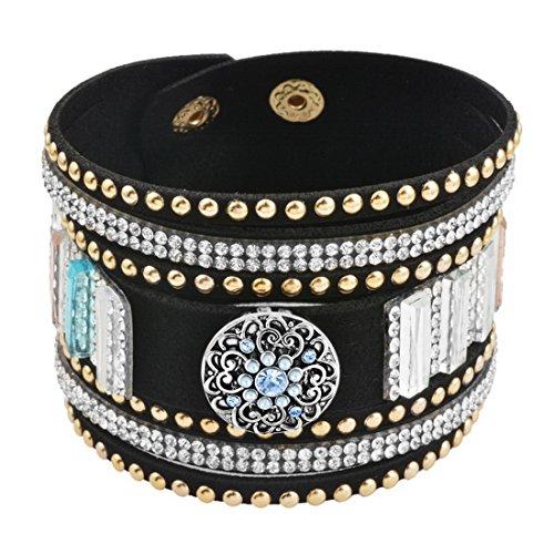 Souarts Femme Bijoux Bracelet avec Bouton à Pression Strass en Cuir Artificiel 5.5mm 22cm 1 Set