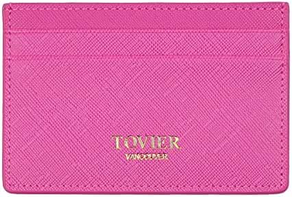 TOVIER RFID Blocking Genuine Slim Leather Wallet Credit Card Case Sleeve Card Holder With Painted Edges