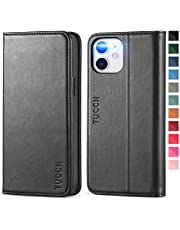 TUCCH iPhone 12 läderfodral, iPhone 12 Pro fodral, 12 Pro plånboksfodral [kreditkortshållare] [Stötsäker TPU-skal] Visningsstativ, magnetisk PU folio flip fodral kompatibel med iPhone 12 Pro/12 (6,1), svart