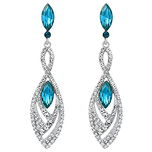 BriLove Fashion Dangle Earrings for Women Crystal Gorgeous Twisted Dual Teardrop Chandelier Earrings Turquoise Color Silver-Tone -