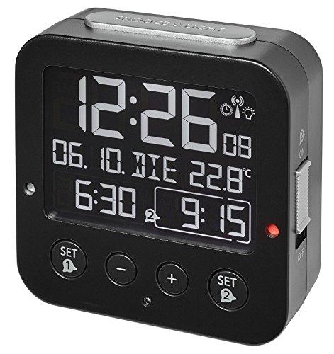 TFA Dostmann 60.2531.01 Bingo Blackline Funk-Wecker schwarz mit Negativ Display 2 Alarme Lichtsensor