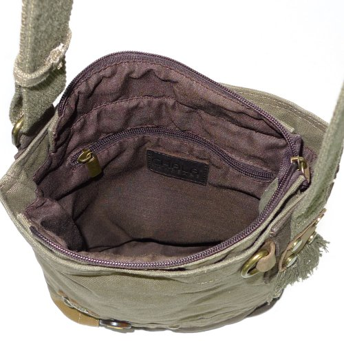 Chala LaZzy Cat Patch Canvas Cotton Messenger Bags with 6 Color Options (Olive) by CHALA (Image #3)