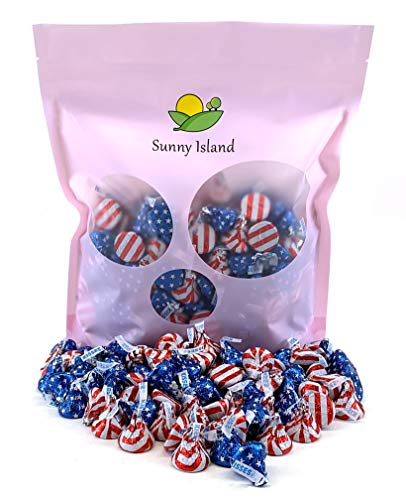 Sunny Island Bulk - Hershey's Kisses USA Flag Red-White and Blue Foil Wrap Milk Chocolate Candy, 2 Pounds Bag -