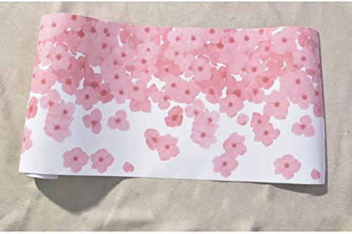 Pink Petals Floral Wallpaper Border Peel and Stick Vinyl Contact Paper Shelf Drawer Liner 11.8 Inches by 9.8 Feet