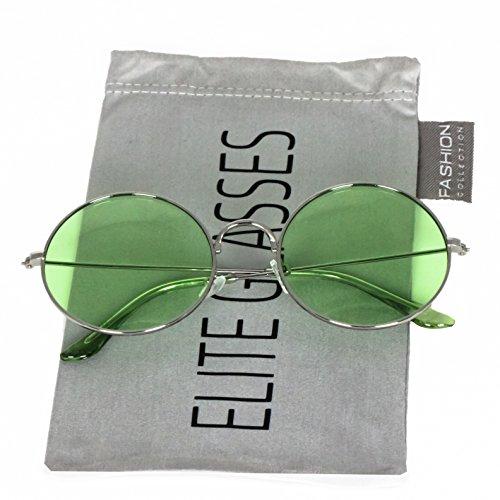 John Lennon Glasses Round Circle Full Metal Frame Sunglasses for Women and Men Colorful Tinted Oceanic Lens (Silver / - Glasses Green Hipster