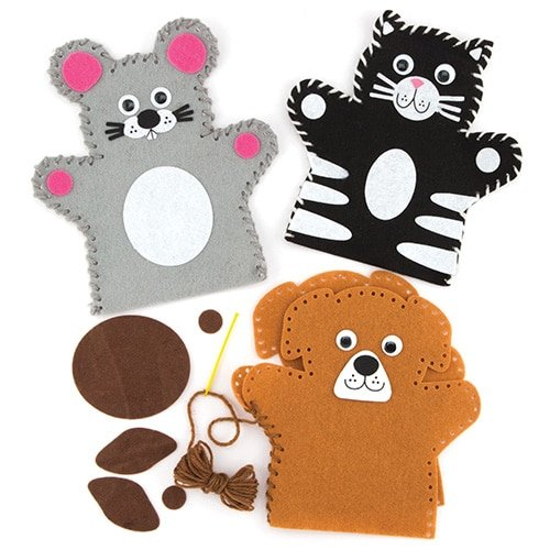 Baker Ross Pets Hand Puppet Sewing Kits (Pack of 4) for Kids to Make - Hand Puppet Kits