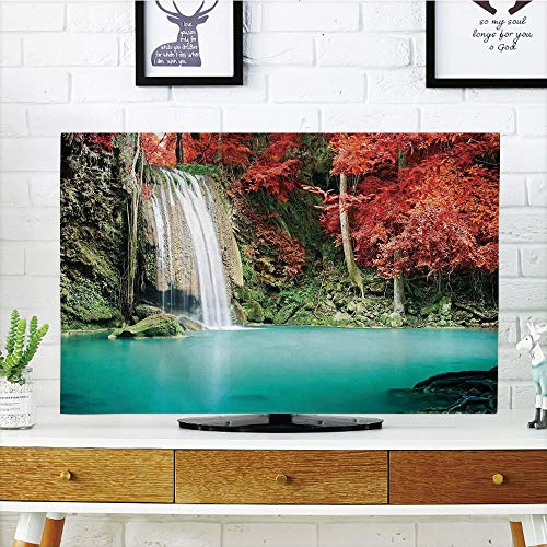 """LCD TV Cover Lovely,Waterfall Decor,Single Waterfall in Corner of The Deep compatibleest with Fair Fall Oak Trees,Red and Blue,Diversified Design Compatible 32"""" TV"""