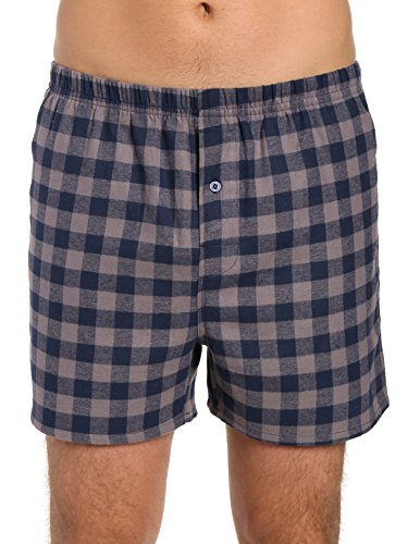 Noble Mount Men's 100% Cotton Flannel Boxers 2-Pack - Gingham Charcoal-Navy Pack - - Flannel Shorts Boxer