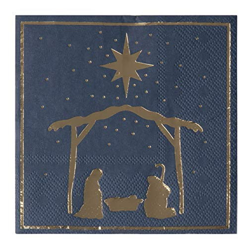 Cocktail Napkins - 50-Pack Disposable Paper Napkins, Christmas Holidays Dinner Party Supplies, 3-Ply, Nativity of Jesus with Gold Foil Design, Navy Blue, Unfolded 10 x 10 Inches, Folded 5 x 5 Inches ()